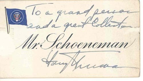 2620: PRESIDENT HARRY S. TRUMAN AUTOGRAPH NOTE SIGNED