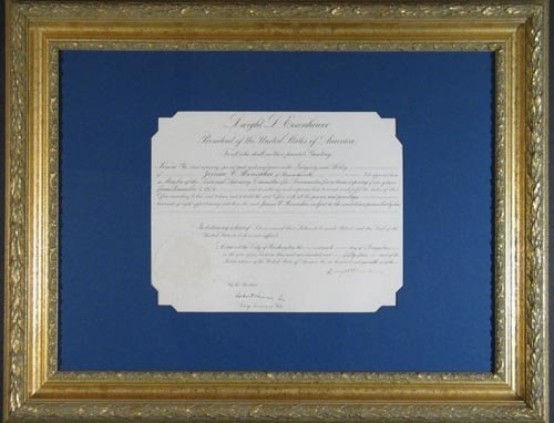 2624: DWIGHT D EISENHOWER DOCUMENT SIGNED AS PRESIDENT