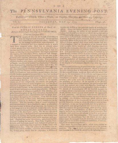 2668: 1775 REVOLUTIONARY WAR NEWSPAPER