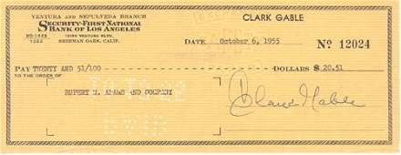 2728: CLARK GABLE DOCUMENT SIGNED - ACTOR