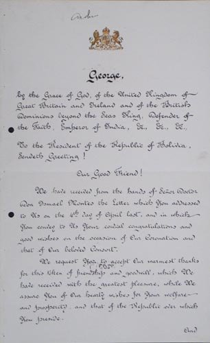 853: KING GEORGE V DOCUMENT SIGNED - HIS CORONATION