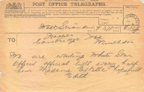 "858: 1912 TITANIC TELEGRAM - ""MADAME ESTELLE HOPEFUL"""