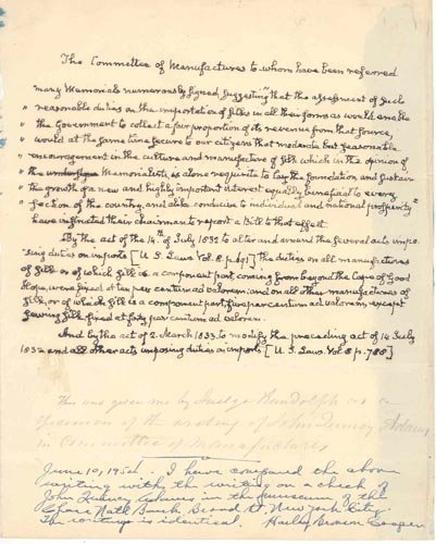859: JOHN QUINCY ADAMS AUTOGRAPH MANUSCRIPT