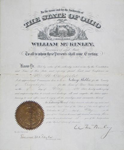 866: WILLIAM McKINLEY DOCUMENT SIGNED AS GOVERNOR