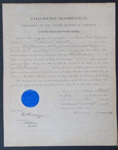 868: THEODORE ROOSEVELT DOCUMENT SIGNED AS PRESIDENT