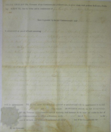 929: ISAAC SHELBY DOCUMENT SIGNED AS GOVERNOR