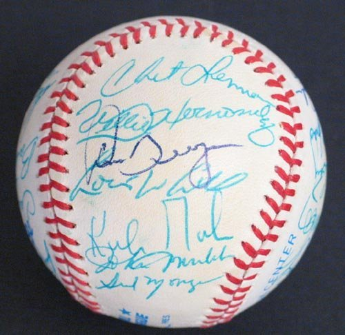 1203: 1984 WORLD CHAMPION DET TIGERS SIGNED BALL - PSA