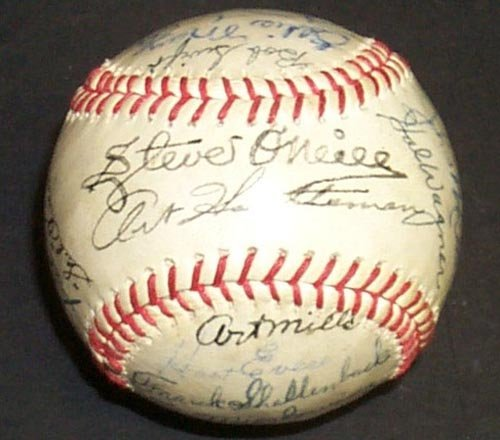 1211: 1947 DETROIT TIGERS SIGNED TIGERS BALL - PSA/DNA