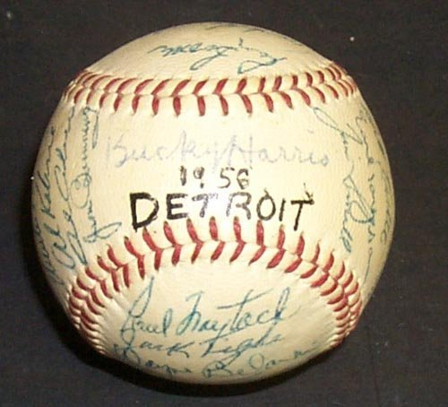 1214: 1956 DETROIT TIGERS SIGNED OFFICIAL BALL - PSA