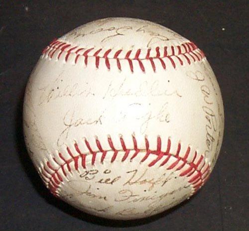 1215: 1957 DETROIT TIGERS SIGNED TIGER BALL - PSA/DNA