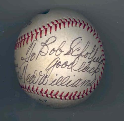 1270: TED WILLIAMS SIGNED & INSCRIBED BALL-GRN DIAMOND