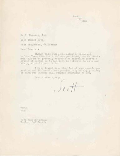 F. SCOTT FITZGERALD TYPED LETTER SIGNED - AUTHOR