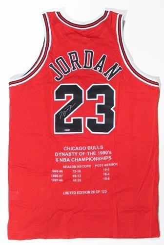 9266: MICHAEL JORDAN SIGNED LTD. ED. BULLS JERSEY -UDA