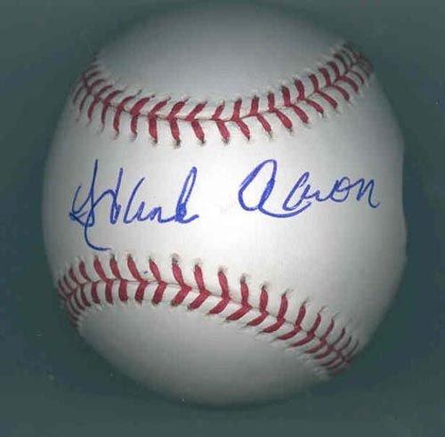 9268: HANK AARON SIGNED OFFICIAL MLB BASEBALL - STEINER
