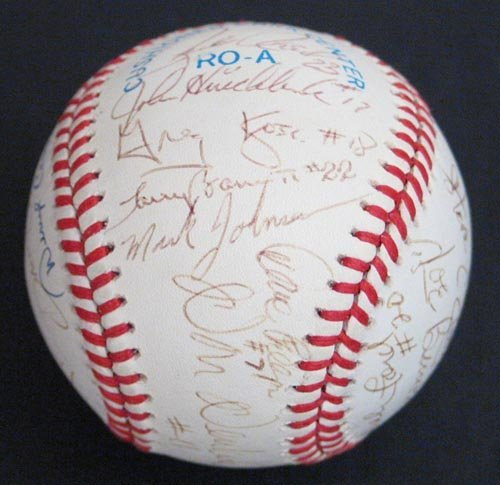 9286: BOBBY BROWN & UMPIRES SIGNED OFFICIAL BALL - PSA
