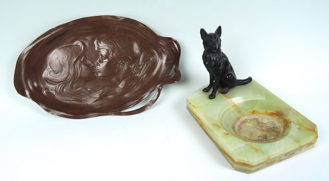 Lot of 2 Art Nouveau Tray & Dog Ashtray