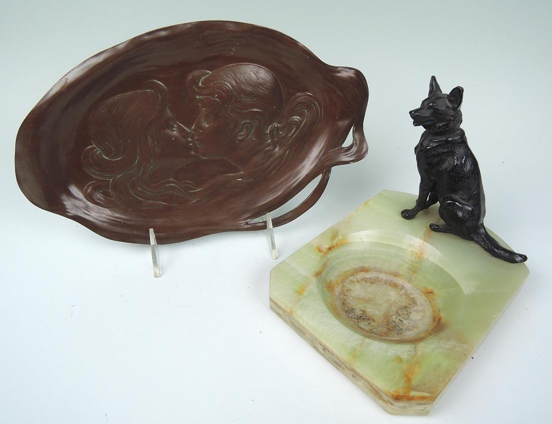Lot of 2 Art Nouveau Tray & Dog Ashtray - 2