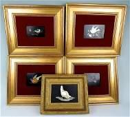 Group of 5 Pietra Dura Bird Plaques
