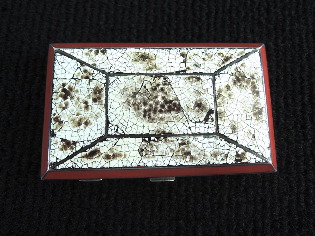 Eggshell Lacquer & Silver Cigarette Case