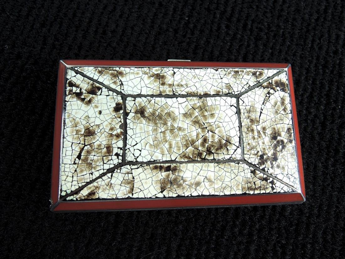 Eggshell Lacquer & Silver Cigarette Case - 3