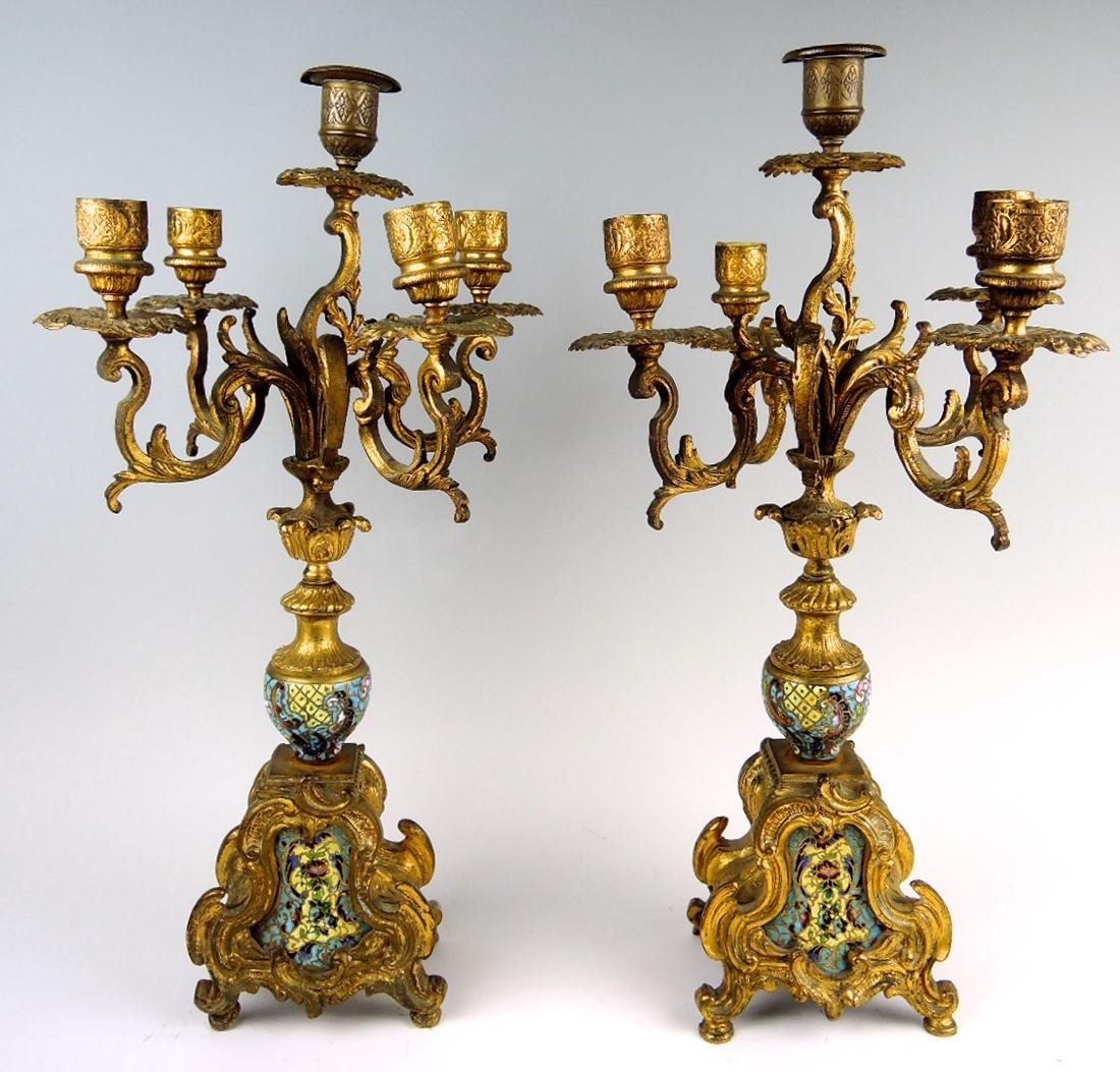 Pair of French Champleve & Bronze Candelabra