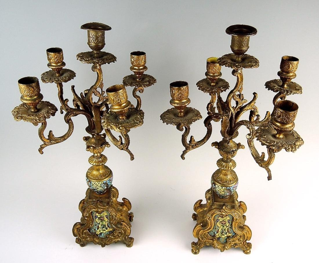 Pair of French Champleve & Bronze Candelabra - 2