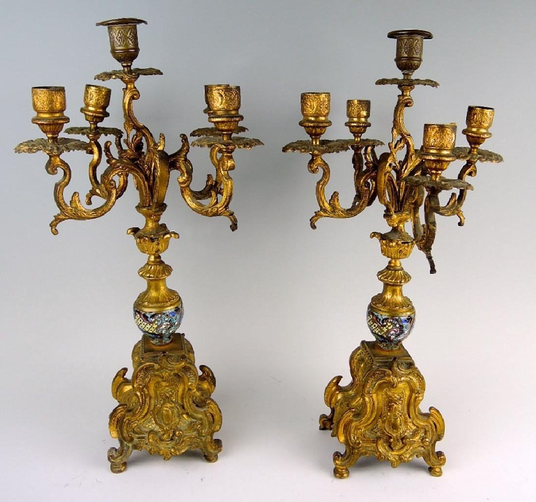 Pair of French Champleve & Bronze Candelabra - 3