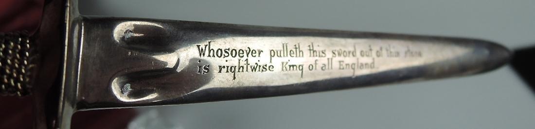 """Steuben """"Excalibur"""" Paperweight & Sterling Sword - 4"""