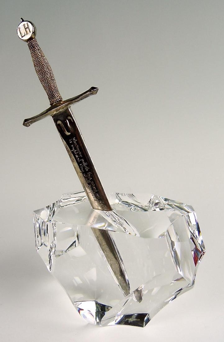 """Steuben """"Excalibur"""" Paperweight & Sterling Sword - 6"""