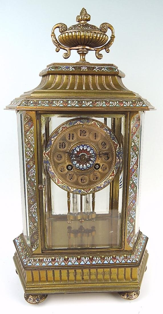 French Bronze & Champleve Enamel Clock