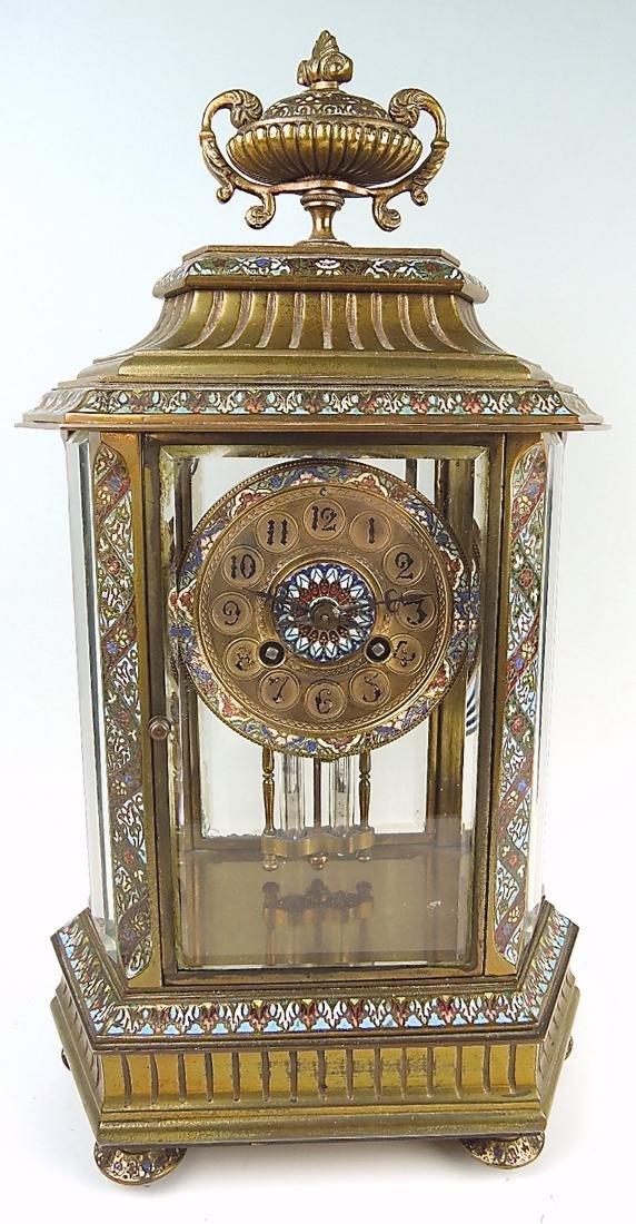 French Bronze & Champleve Enamel Clock