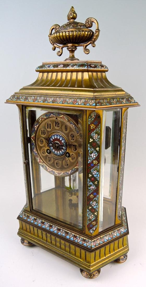 French Bronze & Champleve Enamel Clock - 2