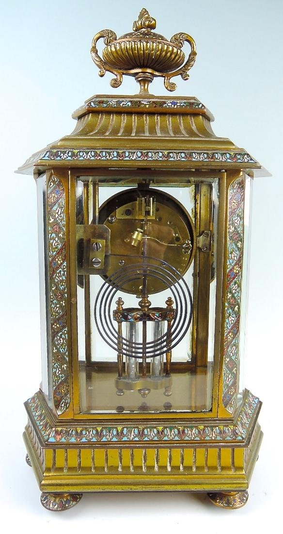 French Bronze & Champleve Enamel Clock - 4