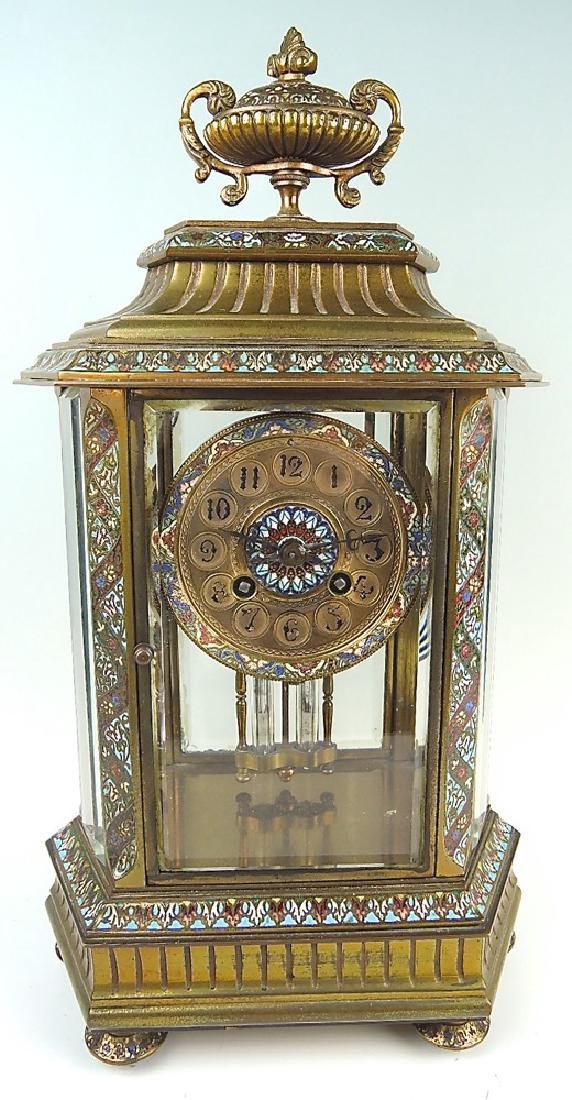 French Bronze & Champleve Enamel Clock - 6