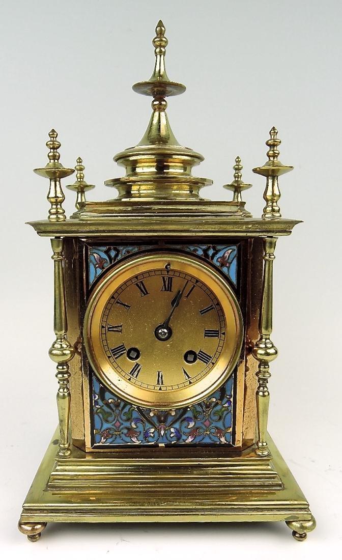Champleve Enamel & Gilt Bronze Clock