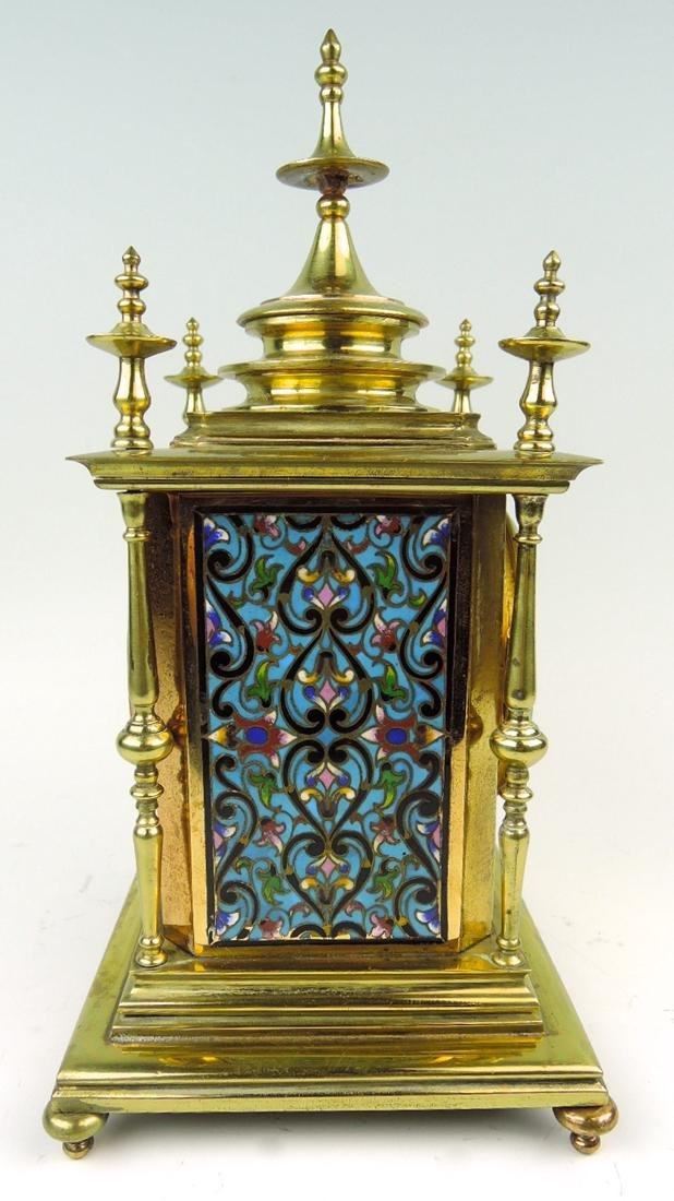 Champleve Enamel & Gilt Bronze Clock - 3