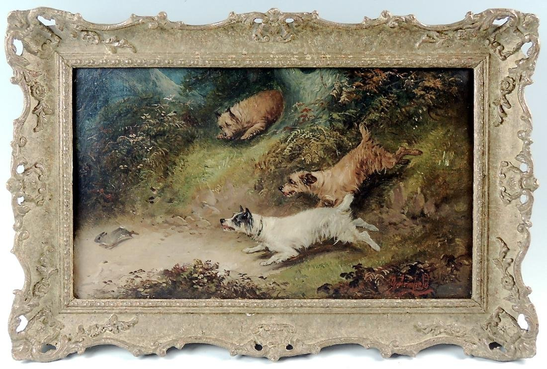 """""""Terriers Chasing a Rabbit"""" by George Armfield O/C"""