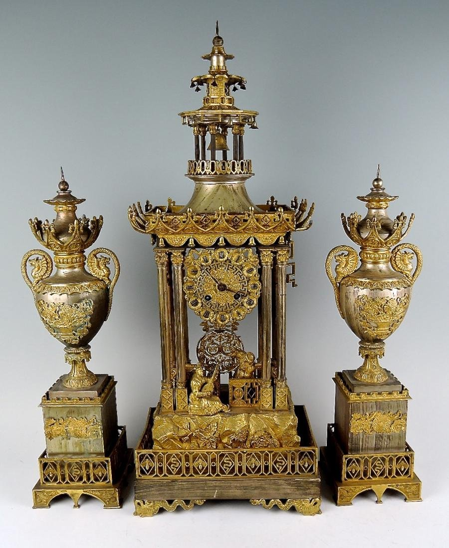 French Gilt Bronze Chinese Pagoda Clock Garniture