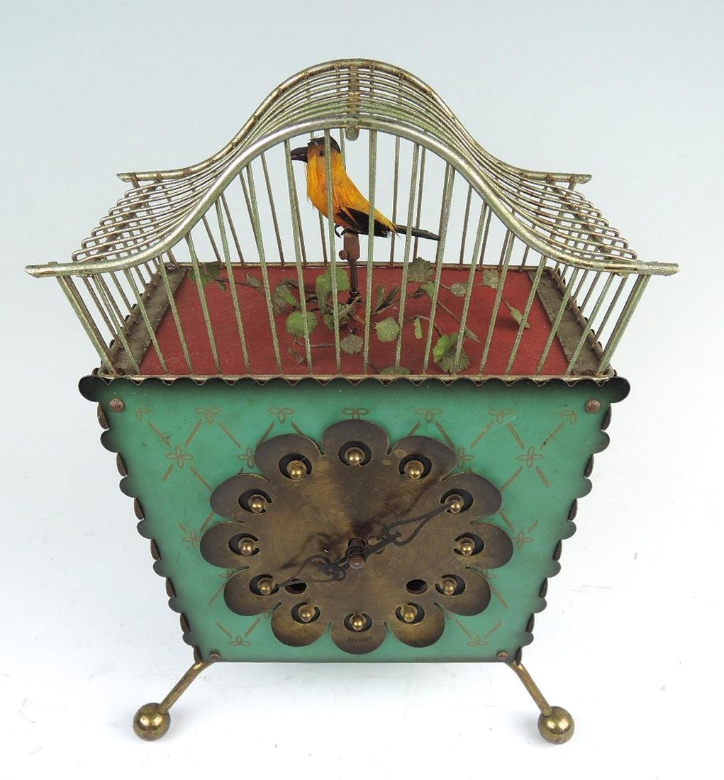 Rare Amusing Mid-Century Singing Bird Clock - 4