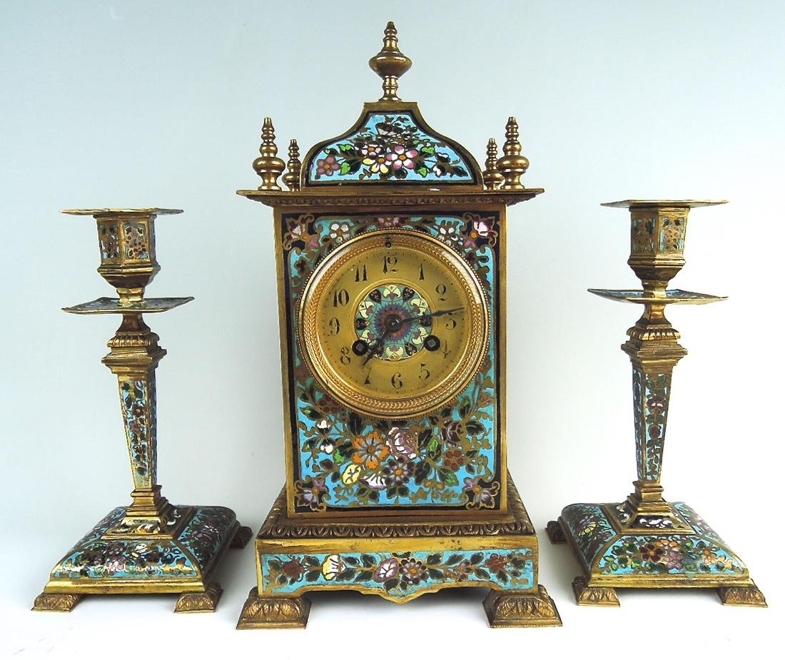 Bronze & Champleve Enamel 3 Piece Clock Garniture