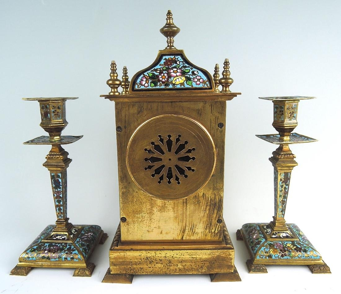 Bronze & Champleve Enamel 3 Piece Clock Garniture - 2