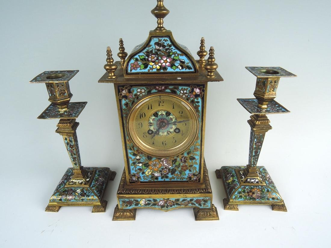 Bronze & Champleve Enamel 3 Piece Clock Garniture - 3