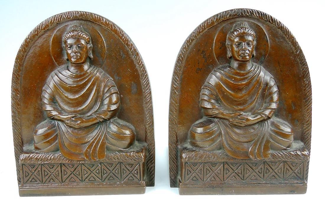 Tiffany Studios Bronze Buddha Bookends