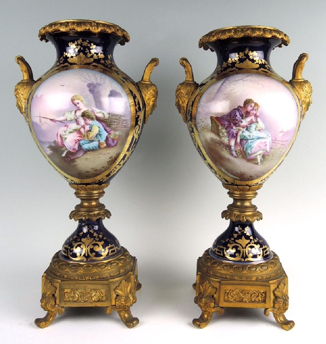 Pair Bronze & Porcelain Sevres Urns