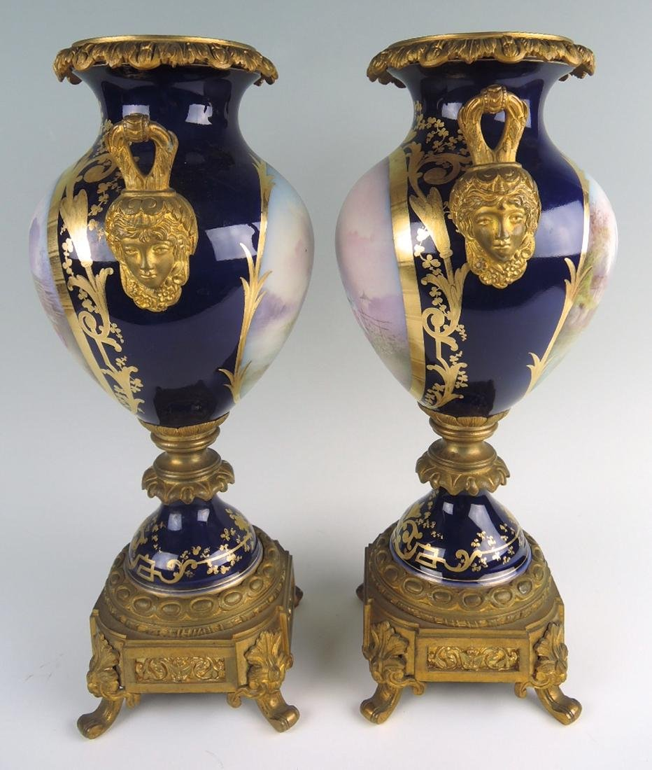 Pair Bronze & Porcelain Sevres Urns - 3