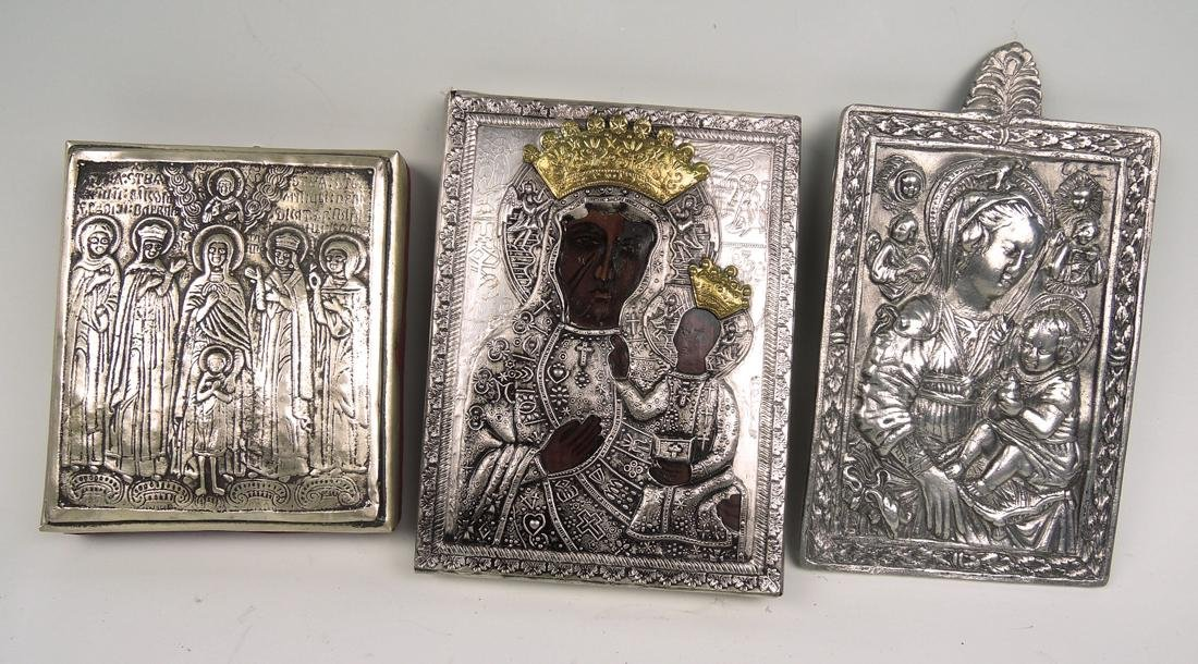 Group of 3 Silverplate Russian Icons