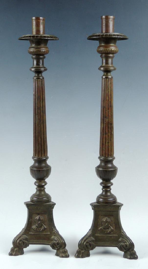 Pair Bronze Candlesticks