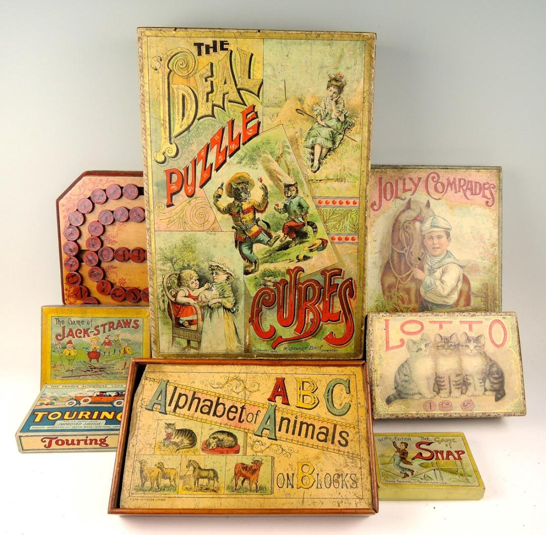 Group of 9 Victorian Board Games