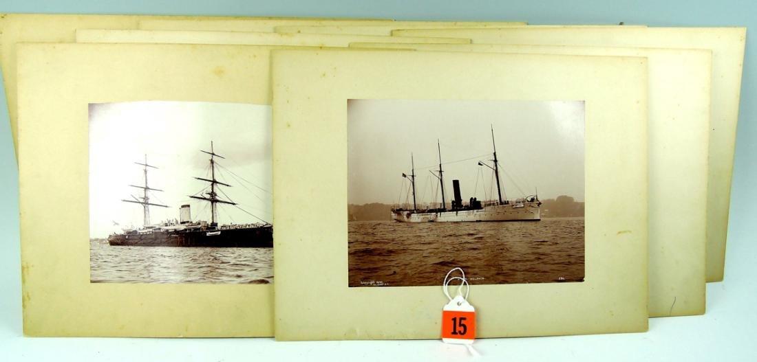 Group of 8 Photographs of Ships Sgd E.H.Hart 1893