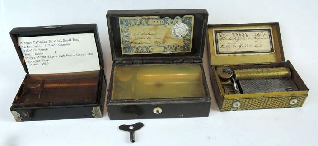 3 Continental Music Boxes 2 Snuff & Cylinder